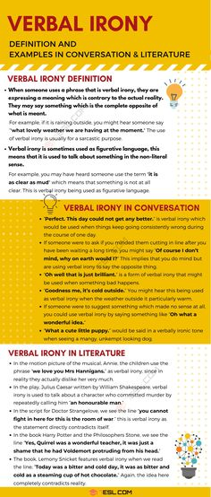 Verbal Irony Definition and Useful Examples in Conversation & Literature 2 Irony Examples, Irony In Literature, Conversational English, Figure Of Speech, What Is Meant, English Phrases, Figurative Language, English Writing