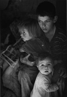 Trailer camp children, Richmond, California, United States, 1944, photograph by Ansel Adams.