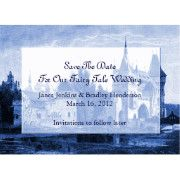 Lovely Fairy Tale Wedding Save the Date announcement, with vintage artwork of a castle done in blue and white. A lighter area, in the middle, has blue text ready to personalize with your wedding information.  Great way to announce your up coming wedding far in advance for out of town guests.