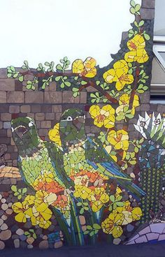 mosaic of Burrowing Parrots in Santiago, Chile
