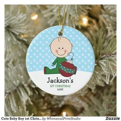 Cute Baby Boy 1st Christmas Personalized Ceramic Ornament Babys 1st Christmas, Baby First Christmas Ornament, Baby Ornaments, Personalized Christmas Ornaments, Christmas Cards, Cute Baby Boy, Cute Babies, Product Design, Design Inspiration
