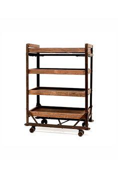 Hudson Goods, Industrial Factory Cart Shelf, vintage Bakers rack, vintage shelf rack, antique bakers rack