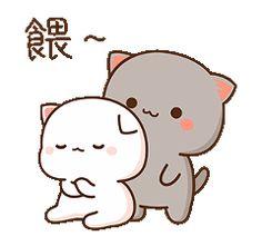Cute Bunny Cartoon, Cute Cartoon Pictures, Mochi, Cute Cat Illustration, Cute Bear Drawings, Chibi Cat, Cat Couple, Best Friend Quotes Funny, Cute Love Gif