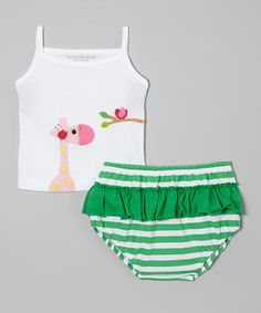 Loving this White & Green Stripe Giraffe Tank & Diaper Cover - Infant on #zulily! #zulilyfinds