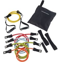 Helpful to maintain fitness while travelling.  Fitness Gear Adjustable Resistance Tube Kit Level 2.