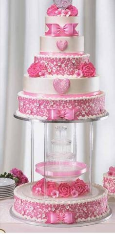 quinceanera cakes with water fountain blue - Google Search