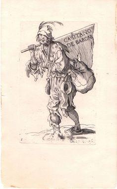 "After Jacques Callot  ""Capitano De Baron"" - Vintage Etching #Realism"