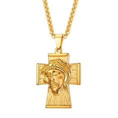 Jesus Piece Cross Necklace Men Big Christian Jewelry Stainless Steel Gold Color Pendant & Chain