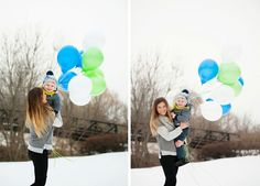 Snow picture session with balloons. Mom and toddler pictures.