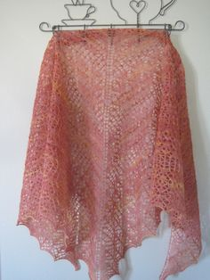 Hand knit Lace Shawl 100 wool yarn Orange and by bunchberrystudio, $149.00