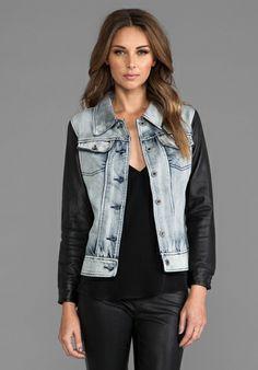 Viparo Anika Denim Leather Sleeve Jacket in Blue