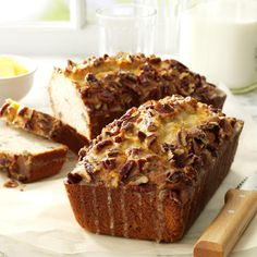 Special Banana Nut Bread Recipe -This extra-special banana bread makes a wonderful gift for friends and neighbors. The recipe makes two loaves, so I can serve one and keep the other one in the freezer so I have a last-minute gift on hand. —Beverly Sprague, Catonsville, Maryland