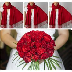 Set of Three Red Shawls, Wedding Shawl, Red Pashmina, Bridesmaid Shawl... ($66) ❤ liked on Polyvore featuring accessories and scarves