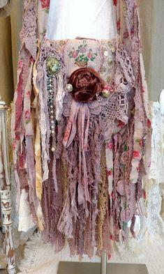 Handmade Vintage Fabric Lace Crochet Fringe Bag Hippie Boho OOAK Purse tmyers #HandmadebyTraciMyersMe #Crossbody