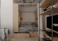 Brilliant built in platform bed at the end of the living room with drapes means you can have a real bedroom in a tiny house without the loft staircase. 4 Super Tiny Apartments Under 30 Square Meters [Includes Floor Plans]