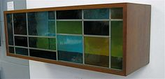 1960 Walnut Hanging Cabinet w/Stained Glass Doors image 2