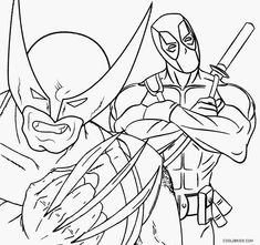 deadpool and wolverine coloring pages