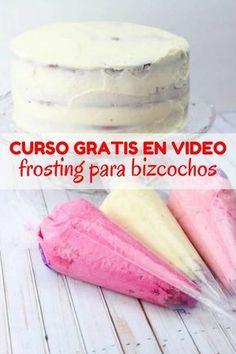 Curso en video repostería básica | Frosting para bizcochos Chocolates, Buttercream Frosting, Baking Tips, Cream Cake, Royal Icing, Cupcake Cakes, Cake Recipes, Cake Decorating, Bakery