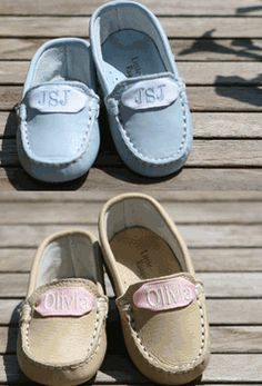 monogrammed moccasins.PRECIOUS!