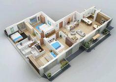 50 Four 4 Bedroom Apartment House Plans House Plans Bedroom Apartment And 4 Bedroom House