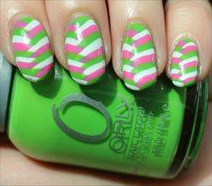 Nail Art: Summery Fishtail Braid Nails - Check out my attempt at fishtail braid nails using different colours! Funky Nails, Love Nails, Trendy Nails, Nail Polish Designs, Cute Nail Designs, Nails After Acrylics, Pretty Nail Colors, Minimalist Nails, Green Nails
