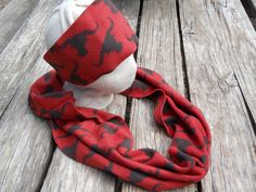 FOR SALE in Lone Raven Ranch eBay shop - please follow link.. http://www.ebay.com/usr/loneravenranch (subject to prior sale)  Red Black Bull Skull Fleece Handmade Infinity Scarf Ear Warmer Headband Lg SET #HandmadebyUSASellerLoneRavenRanch #CowlInfinityScarfHeadwrapHeadband