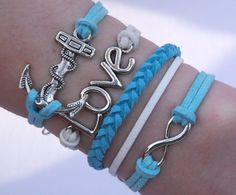 Antique Silver Bracelet, Love Bracelet, Anchor, Infinity Bracelet