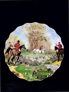 Limoges D Ulmet Hand Painted Fox Hunting Scene Signed Plate Vintage France