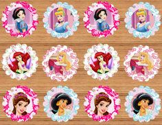 24 Disney Princess Cupcake toppers by NhelyDesigns on Etsy, $6.00
