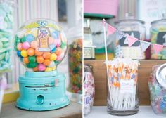 I love these gumball machines! Such a cute idea for vintage candy buffets
