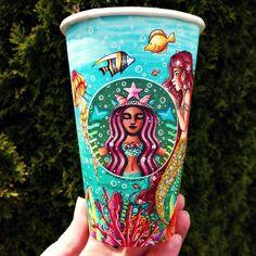 Sea-Life Starbucks Cup Art by CreativeCarrah - Basteln - Dinner Recipes Arte Starbucks, Starbucks Cup Drawing, Pink Starbucks Cup, Copo Starbucks, Starbucks Cup Design, Bebidas Do Starbucks, Custom Starbucks Cup, Starbucks Logo, Starbucks Tumbler