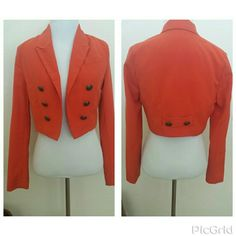 NWOTCropped Military inspired jacket Orange Cropped jacket,  side button detail on each side and on back. Fully lined, polyester / rayon /spandex.  Perfect for Fall. Never been worn,  missing tags. zinga Jackets & Coats
