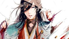 Anime picture 1024x586 with  touken ranbu nitroplus izuminokami kanesada kiri chinpo ane long hair single looking at viewer wide image black hair white japanese clothes traditional clothes lips eyebrows fingernails parted lips head tilt male