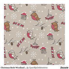 Christmas Birds Woodland 'Home For The Holidays' Fabric @zazzle