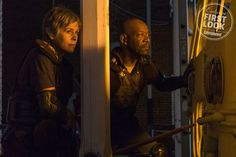 Melissa McBride as Carol and Lennie James as Morgan  Both characters have struggled with violence in the apocalypse, but are now united and determined to take down Negan. Let's wish them luck, shall we?