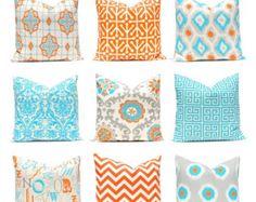 Orange Turquoise Pillows, Decorative Throw Pillow Cover One Orange and Turquoise. : Orange Turquoise Pillows, Decorative Throw Pillow Cover One Orange and Turquoise 12 x 16 OR 12 x 18 Inches Chevron Pillows Greek Key Pillows by FestiveHomeDecor on Etsy Orange Throw Pillows, Orange Bedding, Gold Pillows, Diy Pillows, Couch Pillows, White Decorative Pillows, Decorative Pillow Covers, Decorative Throw Pillows, Rugs