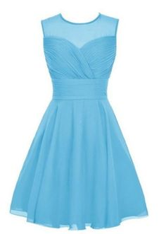 Sheer-Straps-Short-Chiffon-Bridesmaid-Homecoming-Party-Prom-Dresses-Evening-Gown