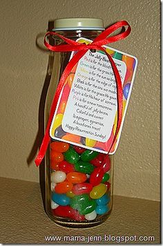 Jelly Bean Prayer printable. Cute idea to put in the basket. I love ideas that incorporate faith.