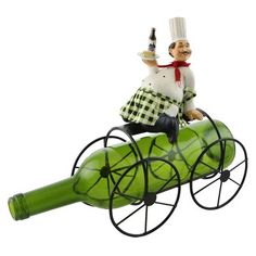 Fleur De Lis Living Alissa Smiling Chef Holding Wine and Cheese 1 Bottle Tabletop Wine Rack