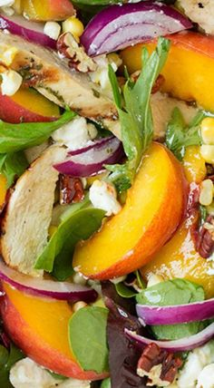 Peach Salad with Grilled Basil Chicken and White Balsamic-Honey Vinaigrette | Posted by: DebbieNet.com