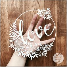 Love Flower Circle SVG PDF - Papercutting Template to print and cut yourself (Commercial Use)