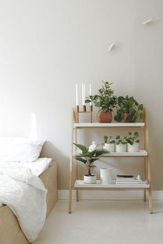 wohnideen schlafzimmer pflanzen offene regale