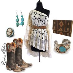 """Wanderlust"" by rodeo-chic on Polyvore, Old Gringo Taka cowboy boots @oldgringoboots; crochet dress; cameo ring; indian inspired beading, western, bohemian, gypsy"