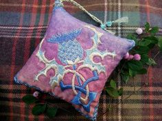 THISTLE flower Embroidered Lavender bag Symbol of Scotland. | Etsy Dried Lavender Flowers, Lavender Bags, Thistle Flower, Purple Lilac, Metallic Thread, Embroidery Files, Embroidered Flowers, Little Gifts, Green And Gold