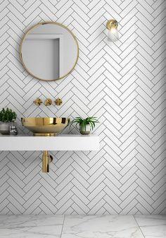 Bathroom trends Herringbone tiles and brass sink. Bathroom trends Herringbone tiles and brass sink. Tuile Chevron, Chevron Tile, Herringbone Wall Tile, Chevron Bathroom, Bathroom Canvas, Neutral Bathroom, Geometric Tiles, Bathroom Black, Brass Bathroom