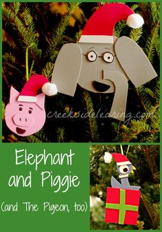Ornaments kids can make, inspired by Elephant and Piggie and The Pigeon, from wonderful beginning reader books by Mo Willems. | Creekside Learning