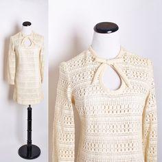 Crochet 1960s Mod Wedding Dress / Buttercream / by aiseirigh, $222.00