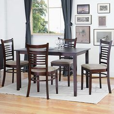 Delightful Baxton Studio Cathy Brown Wood Modern 5 Piece Dining Set (Cathy Dining Set),  Size 5 Piece Sets