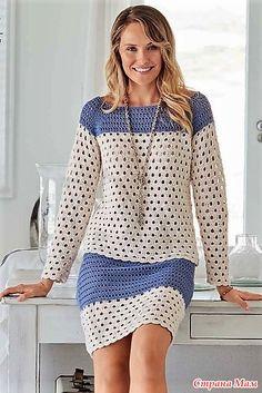 Пуловер и юбка перфорированным узором крючком и ваш гардероб пополнится прекрасным комплектом. Verena Stricken Nr. 2/2018