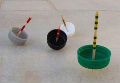 Sara of Creative Jewish Mom shares this brilliant and quick project for turning plastic bottle caps into spinning tops, perfect for Hanukkah games and gene
